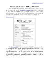 format for professional resume 5 popular resume formats 2016 that get offers 1 638 jpg cb 1455801997