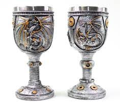 Collectible Home Decor 2 Set Of Silver Dragon Wine Goblet Skulls Steampunk Collectible