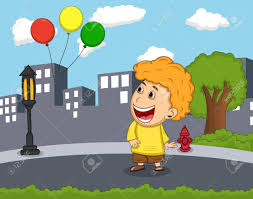balloons that float a boy see the balloons float in the air royalty free
