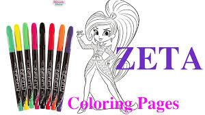 painting zeta shimmer and shine coloring pages video coloring