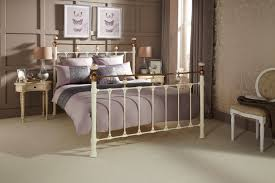 lillian quality metal bed frame in ivory or black double king or