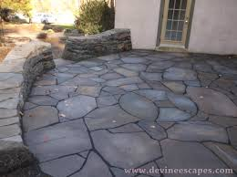 Backyard Flagstone Patio Ideas by Floor Amazing Flagstone Patio With French Window And White Wall