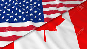 flags of america and canada split canadian flag and american