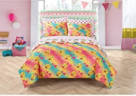 Girls Peace Sign Bedding by Amazon Com 7 Piece Colorful Emoji Pals Motif Bed In A Bag Set