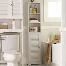 bathroom tall narrow white painted pine wood bath cabinet with