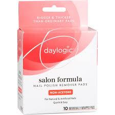 daylogic salon formula nail polish remover pads non acetone 10