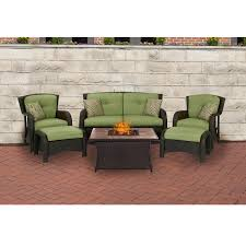 Patio Furniture Fire Pit Table Set - strathmere 6 piece lounge set in cilantro green with tan porcelain