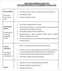 business case one page template one page business plan template