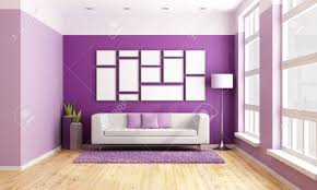 bright living room with modern couch purple wall and big wooden