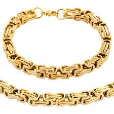 mens byzantine necklace gold images Men 39 s stainless steel plated byzantine chain necklace and bracelet