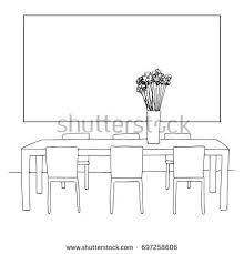 linear sketch interiordining room free hand stock vector 702054316