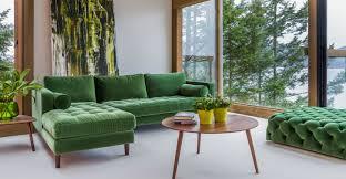 green velvet left sectional tufted article sven modern