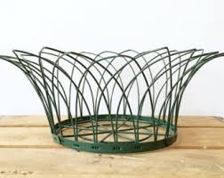 Basket Home Decor Green Wire Basket Etsy