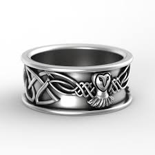 Celtic Wedding Rings by Sterling Silver Owl Wedding Ring Owl Wedding Band Celtic Wedding