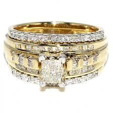 bridal rings with images Princess cut diamond bridal rings set 10k yellow gold 0 75ct jpg