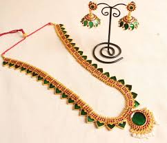 beautiful earring necklace set images Buy beautiful green temple jewel long necklace with matching jpg