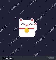 pixel art halloween background pixel art maneki neko kitten isolated stock vector 535463758