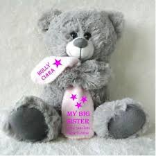 flower girl teddy personalised grey teddy with blanket big birthday