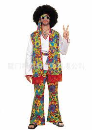 halloween hippie costume retro style hippie men clothing 50s europe stage performance