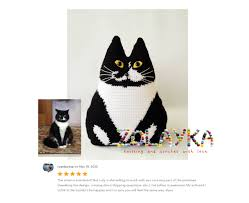 black cat toy pillow halloween decor crochet cushion stuffed