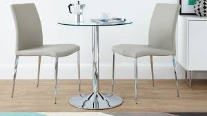 2 Chair Dining Table Round Glass 2 Seater Dining Set Faux Leather Dining Chair