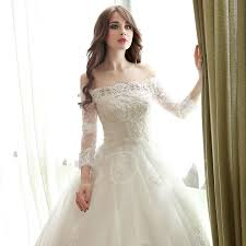 off the shoulder ball gown 3 4 length sleeves lace wedding dress