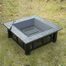 Firepits Co Uk Outsunny Square Shape Pit Black