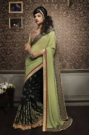 pista green color pista green color georgette saree zinnga