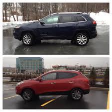 dark gray jeep cherokee comparison 2014 jeep cherokee limited vs 2014 hyundai tucson gls