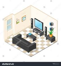 vector illustration modern interior isometric home interior stock