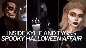 old cloth halloween background kylie jenner and boyfriend tyga dress up as striking skeletons for
