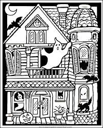 haunted house coloring pages inside free halloween shimosoku biz