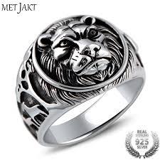 rock silver rings images Metjakt punk rock jewelry domineering lion head ring solid 925 jpg