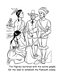 pilgrim thanksgiving coloring page sheets pilgrims trading for