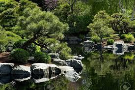beautiful japanese garden with small pond garden design stock