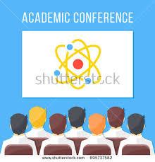 design event symposium academic conference symposium scientific event science stock vector