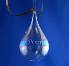 personalized engraved blown teardrop ornament the