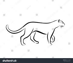 grace panther ink line art black stock vector 241219408 shutterstock