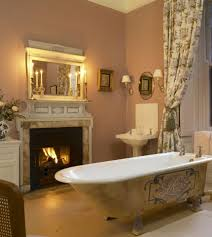 bathroom designs with fireplaces for those who have a lot of money