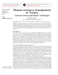 human resource management in turkey current issues and future