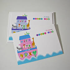 personalised noahs u0027 ark thank you cards by moonglow art