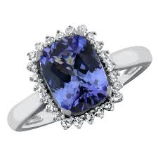 cushion diamond ring 2 ct cushion cut tanzanite and diamond ring in 10kt white gold