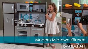 kidkraft modern espresso kitchen children u0027s modern midtown play kitchen toy review youtube