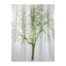 Shower Curtains With Trees Bisk 180 X 200 Cm Shower Curtain With Green Tree Design White By