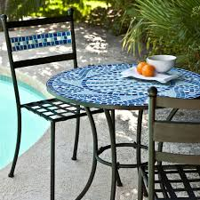 Patio Furniture Wrought Iron Dining Sets - outdoor 3 piece aqua blue mosaic tiles patio furniture bistro set
