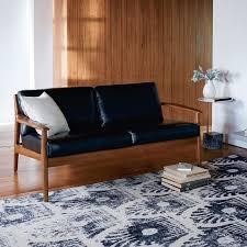 exposed wood frame sofa mathias mid century wood frame leather sofa west elm bedroom