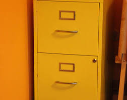 Yellow Metal Filing Cabinet Vintage Filing Cabinets Etsy