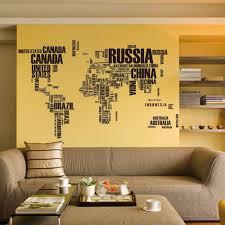 Home Decor Indonesia Black World Map Country Name Diy Wall Sticker Home Decor Custom