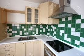 Modern Kitchen Tiles Design Modern Kitchen Interior Design Green Tiles Bright Furniture