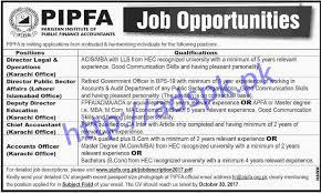 chief accountant pipfa islamabad karachi jobs 2017 directors deputy director